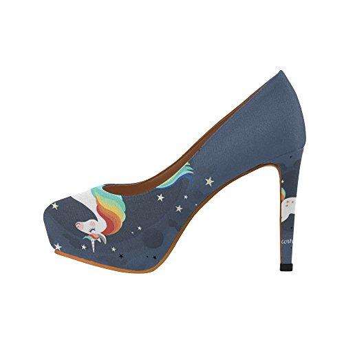 Interestprint Floral Y Mandala Mujeres Sexy High Heels Pump Zapatos Unicornio Saltando Con Estrellas
