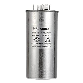 60+5 MFD uF Air Conditioner Capacitor Round Aluminum Electrolytic Dual  Motor Run Capacitor 450V AC Withstand Voltage for Condenser Straight Cool  or