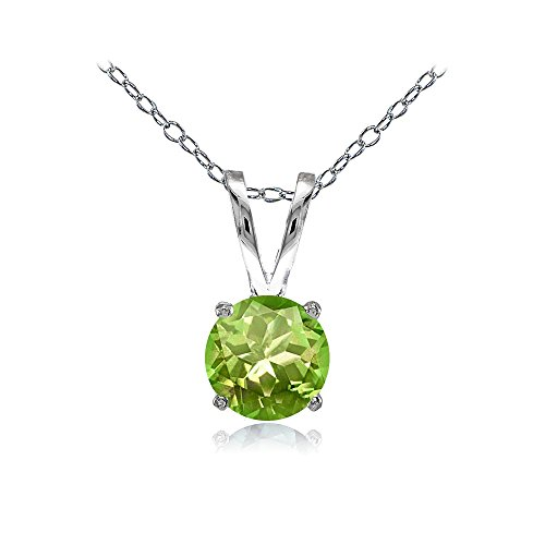 Ice Gems Sterling Silver Peridot 7mm Round Solitaire Necklace