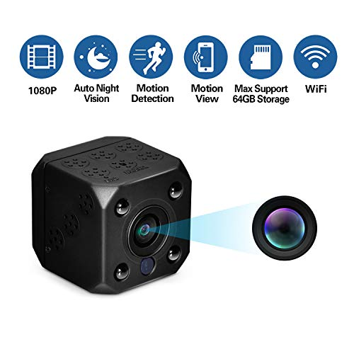 sunnflowfox WiFi Spy Camera, Wireless Mini Hidden Camera Nanny Camera 1080P HD Video Recorder Indoor Hidden Cam with Auto Night Vision for Home, Office Security