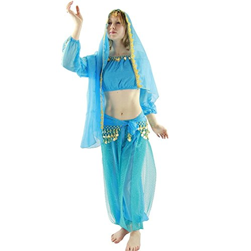 Danzcue Long Sleeves Bloomer 5-Piece Belly Dance Costume Large Light Blue (Belly Dance Costumes Large Ladies)