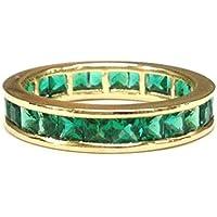 Princess Emerald Wedding Band Eternity Anniversary Ring 14K Yellow Gold Channel Set