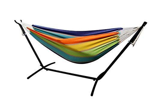Danyel Double Hammock With Space Saving Steel Stand Includes Portable Carrying Case
