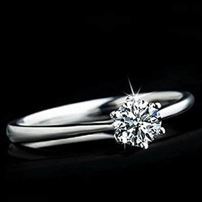 Amesii Women Clear Zircon Inlaid Wedding Bridal Engagement Party Jewelry Ring Size 6-9