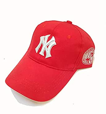 NY Red Cotton Baseball Hat For Unisex