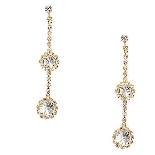 Gold Crystal Rhinestone Single Strand Drop Earrings ()