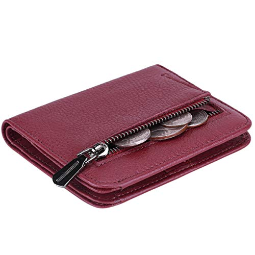 Itslife Women's Rfid Blocking Small Compact Bifold Leather Pocket Wallet Ladies Mini Purse with id Window (Natural Wine Red)