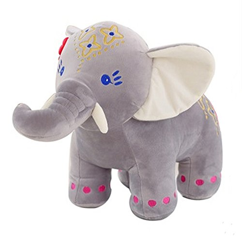 Lacheln Gray Stuffed Bangkok Elephant Dolls Plush Animal Toys for Baby Kids Girls Boys Birthday Valentine's Day Gift,10 inches