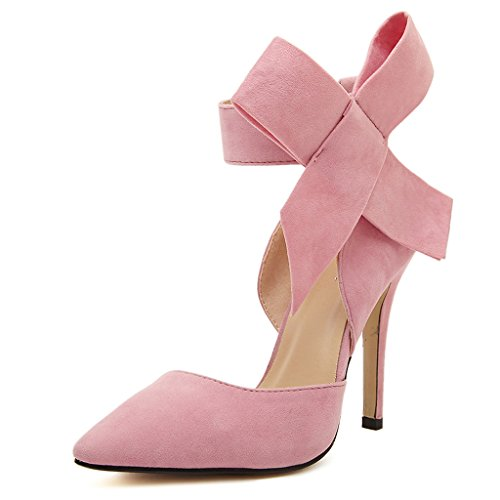 Oderola Women's Pointy Suede Pumps High Heels Shoes with Big Bowknot Pink