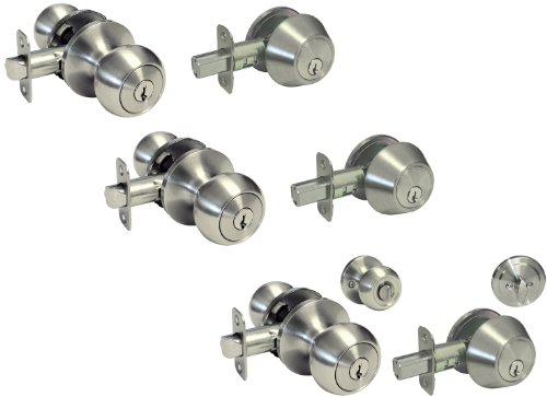 3 Sets Satin Nickel Entry Entrance Keyed Round Knob with Matching Single Cylinder Deadbolt Combo Pack Keyed Alike