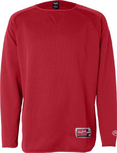 Rawlings 9705 - Långärmad Flatback Mesh Fleecepullover Röd