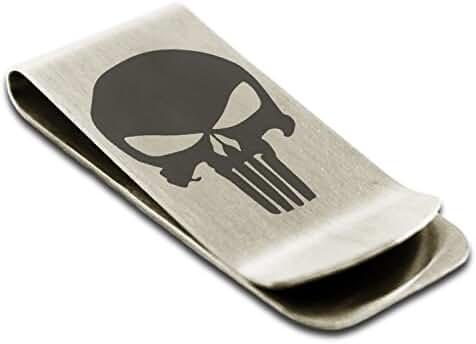 Stainless Steel Marvel The Punisher Logo Engraved Money Clip Credit Card Holder