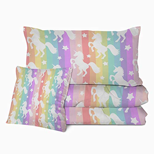 Sleepwish Kids Unicorn Comforter Set 3D Gallop Rainbow Unicorn Print Bedding with 2 Pillow Shams and 1 Cushion Cover Unicorn Pattern 4 Pieces Reversible Comforter for Fantasy Girls (Full)