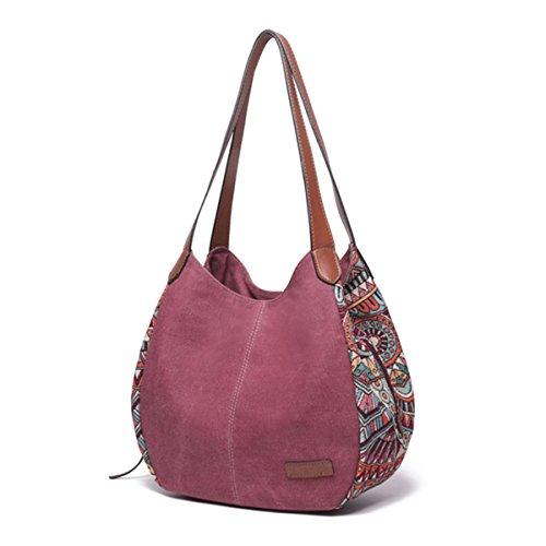 à femmes sac Bernice Sac Red Totes main sacs capacité épaule portés Sacs Bohemia Floral à bandoulière pour les toile à main grande xwwXZqIA