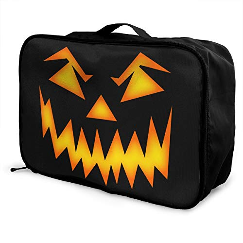 Halloween Mean Pumpkin Face Travel Lightweight Waterproof Foldable Storage Carry Luggage Large Capacity Portable Luggage Bag Duffel -