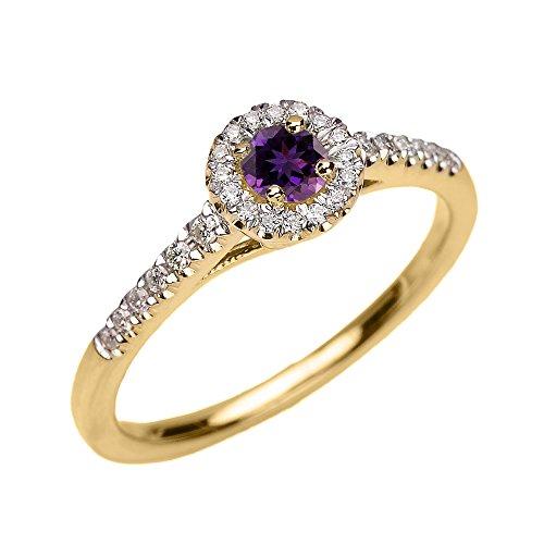 Bague Femme/ Bague De Fiançailles 14 Ct Or Jaune Diamant Et Améthyste