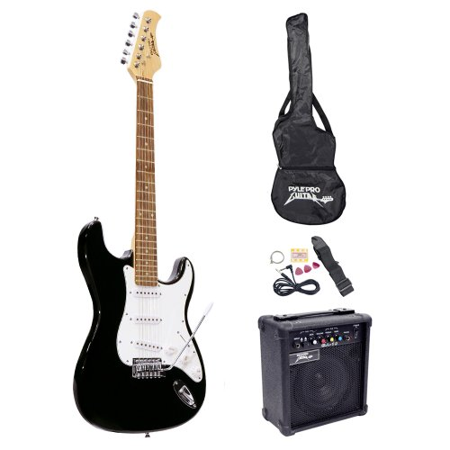 PylePro Full Size Electric Guitar Package w/Amp, Guitar Bundle, Case & Accessories, Electric Guitar Bundle, Beginner Starter Package, Strap, Tuner, Pick, Ready to Use Out of the Box, Black (PEGKT15B)