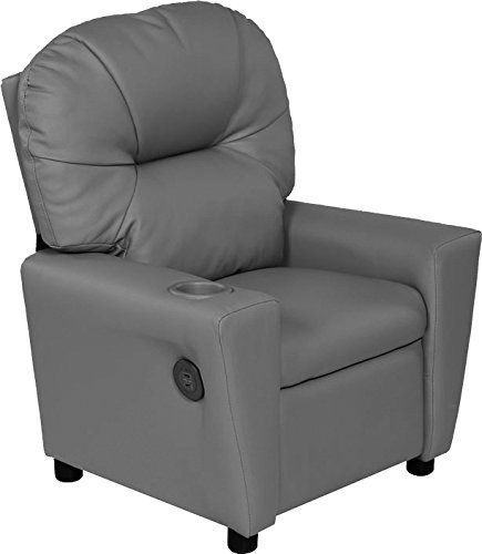 (Relaxzen USB Charging Contemporary Kids Recliner with Cupholder, Gray)