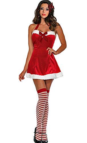 Lacy Line Santa's Little Helper 2 PC Holiday Velvet Dress With Stockings Set (Costumes Santas Little Helper Stockings)