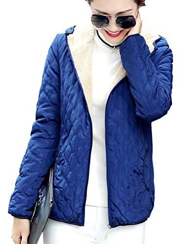 Fit Modernas Slim Blau Capucha Terciopelo Manga Casual Invierno Mujer Outerwear Bolsillos Elegantes Acolchada Abrigos Cremallera Grueso Otoño Con Larga Chaqueta Fashion Capa TqBzxUCw1