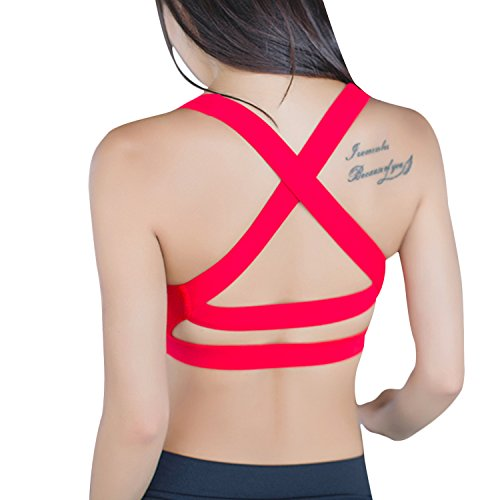 Helisopus Push Up Strappy Crisscross Back Padded Sports Bra Wirefree Workout Yoga Crop Top for Women