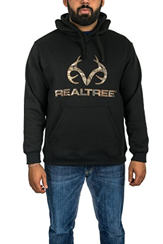 Realtree Men's Performance Fleece Hoodie with Applique Camo Logo (Midnight, L)