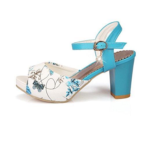 Allhqfashion Donna Peep Toe Fibbia Pu Assortiti Sandali Con Tacco Alto Blu