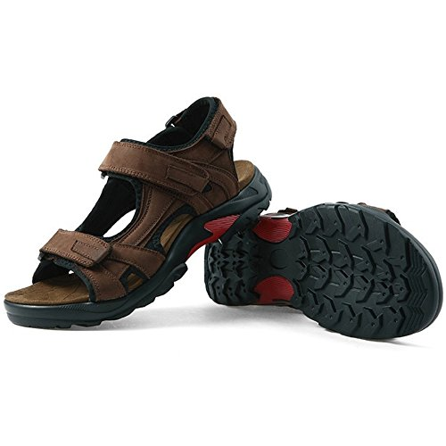 Royal Victory R&V Men's Sports Sandals Leather Strap Summer Open-Toe Gladiator Shoes US6.5-US11.5 Plus Size (US Size 10.5, Brown)