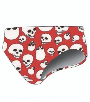 TS Swim Men's Water Polo Brief - Red with Skulls (30) (Water Polo Brief)