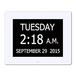 SINOIDEAS HLDC001 5 Daily Alarms & 3 Medicine Reminder - Hurrah Extra-Large Memory Loss Digital Calendar Day Clock with Non-Abbreviated Day (White)