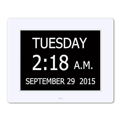 5 Daily Alarms & 3 Medicine Reminder - Hurrah Extra-Large Memory Loss Digital Calendar Day Clock with Non-Abbreviated Day (White)
