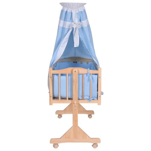 Wood Baby Crib Rocking Cradle Newborn Bassinet Bed Sleeper Portable Nursery Blue by Nikkycozie (Image #2)