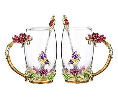 COAWG Glass Tea Cup, Lead Free Handmade Enamel Flower Clear Glass Coffee Mug with Handle, Unique Personalized Birthday Gift Ideas for Women Grandma Mom Female Friend Teachers-11/12oz