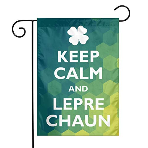 TTIWEP Keep Calm and Leprechaun Garden Flag Indoor & Outdoor Decorative Flags for Parade Sports Game Family Party Wall Banner,12x18inch