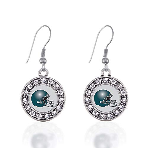 Inspired Silver - Grey and Turquoise Team Helmet Charm Earrings for Women - Silver Circle Charm French Hook Drop Earrings with Cubic Zirconia Jewelry ()