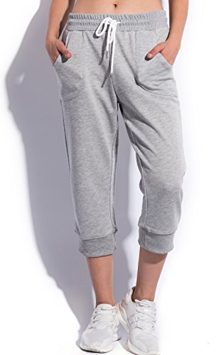 SPECIALMAGIC Women's Sweatpants Cropped Jogger French Terry Running Pants Lounge Loose Fit Drawstring Waist with Side Pockets Grey M