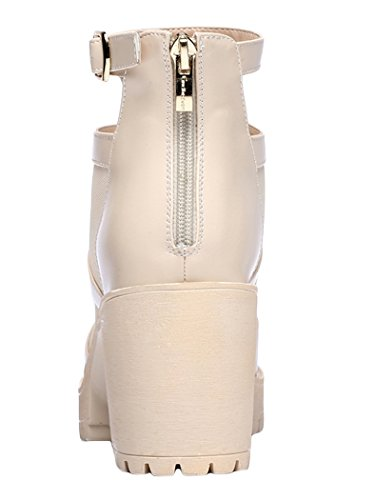 Passionow Christmas Womens 2015 New Platform PU Mesh Buckle Fashion Peep Toe Heeled Sandals (6 B(M)US, Beige)