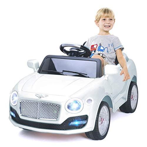 Costzon Ride On Car, 6V Battery Powered Vehicle, Manual/ 2.4G Parental Remote Control Modes Car w/Flashing Wheel Lights, Swing Function, 3 Speeds, Bluetooth, MP3, Music, Radio, Horn for Kids (White)