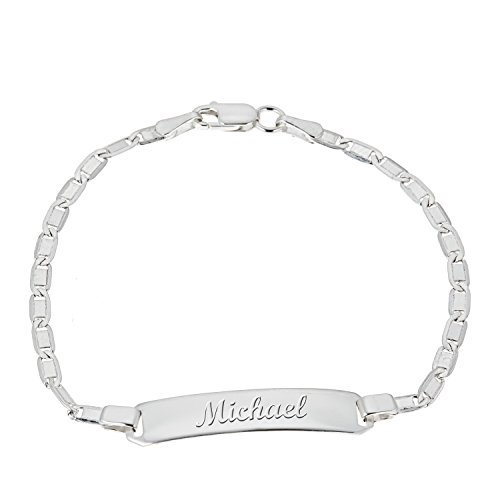 Price comparison product image Ritastephens Children's Sterling Silver Mariner Chain Baby ID Bracelet Engraveable Front and Back