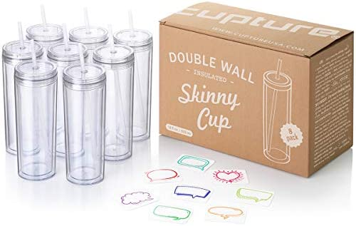 Cupture Skinny Acrylic Tumbler Cups with Straws - 18 ounces, 8 Pack (Clear)