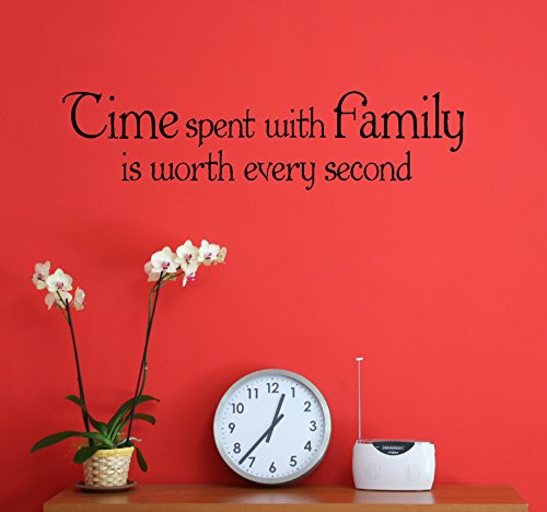 Wall Decor Plus More WDPM3289 Time Spent With Family Worth Every Second Vinyl Sticker Wall Decal Saying Quote Lettering, 23 x 6-Inch, Black