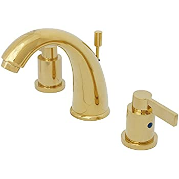 Kingston Brass KB8982NDL 5-1/4-Inch in Spout Reach NuvoFusion Goose Neck Spout Widespread Lavatory Faucet with Brass Pop-Up, Polished Brass