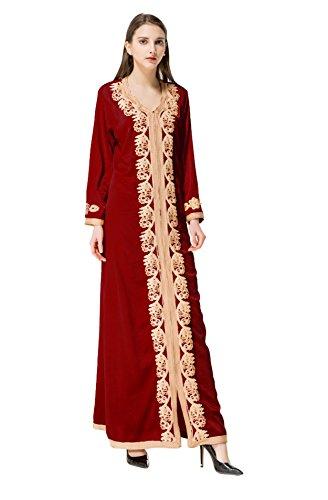 Pieno Sciolto Rosso Abaya Vestito Lungo Musulmano V Collo Gladthink Maniche Elegante Lunghezza Donne qZaEtTO