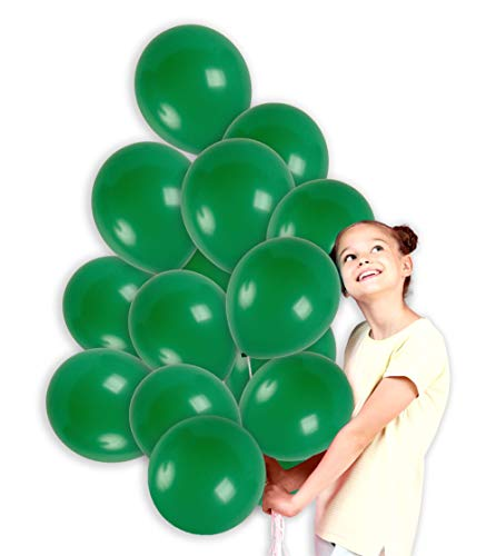 (Treasures Gifted 12 Inch Dark Green Solid Latex Balloons Premium Quality with Curling Ribbons Bouquet for Jungle Theme Birthday Party Monster Party Baby Shower Wedding Mardi Gras Supplies (36)