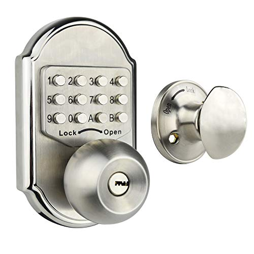 Elemake Keyless Entry Door Lock Deadbolt Keypad Mechanical Stainless Steel (Pass Code + Key, Higher ()