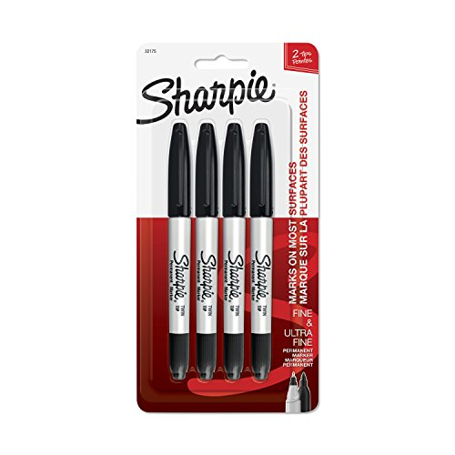 Sharpie Ultra Fine Tip Marker - Sharpie Twin Tip Permanent Markers, Fine & Ultra-Fine Points, Black, 4 Pack (32175PP)