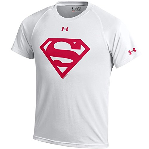 Price comparison product image Under Armour Youth-Alter Ego-Superman-Nutech Performance T-Shirt-White/Red Shield-Small
