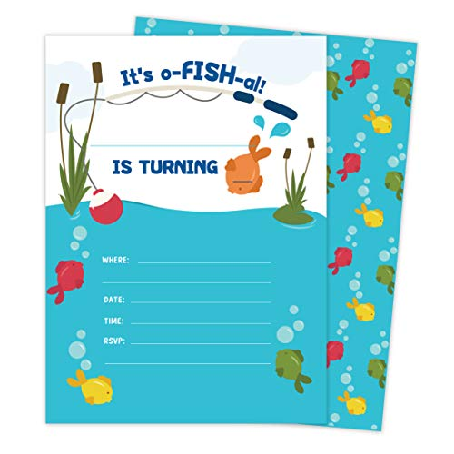 Fishing Baby Shower Invitations (Fishing 2 Invitations (25 ct.) Invite Cards Happy Birthday Invitations Invite Cards With Envelopes and Seal Stickers Vinyl Girls Boys Kids Party)