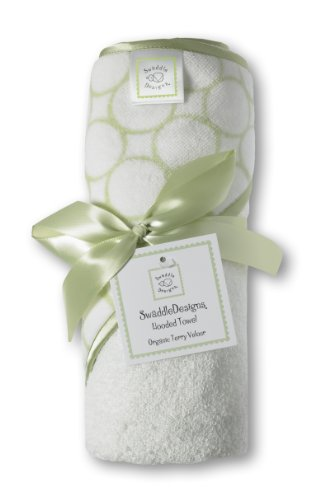 (SwaddleDesigns Organic Cotton Terry Velour Hooded Towel, Kiwi Mod Circles)