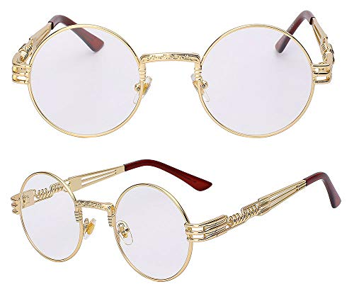 The Bad and Boujee's Sunglasses Steampunk Trendy Hip Hop Shades (Gold Frame + Clear ()